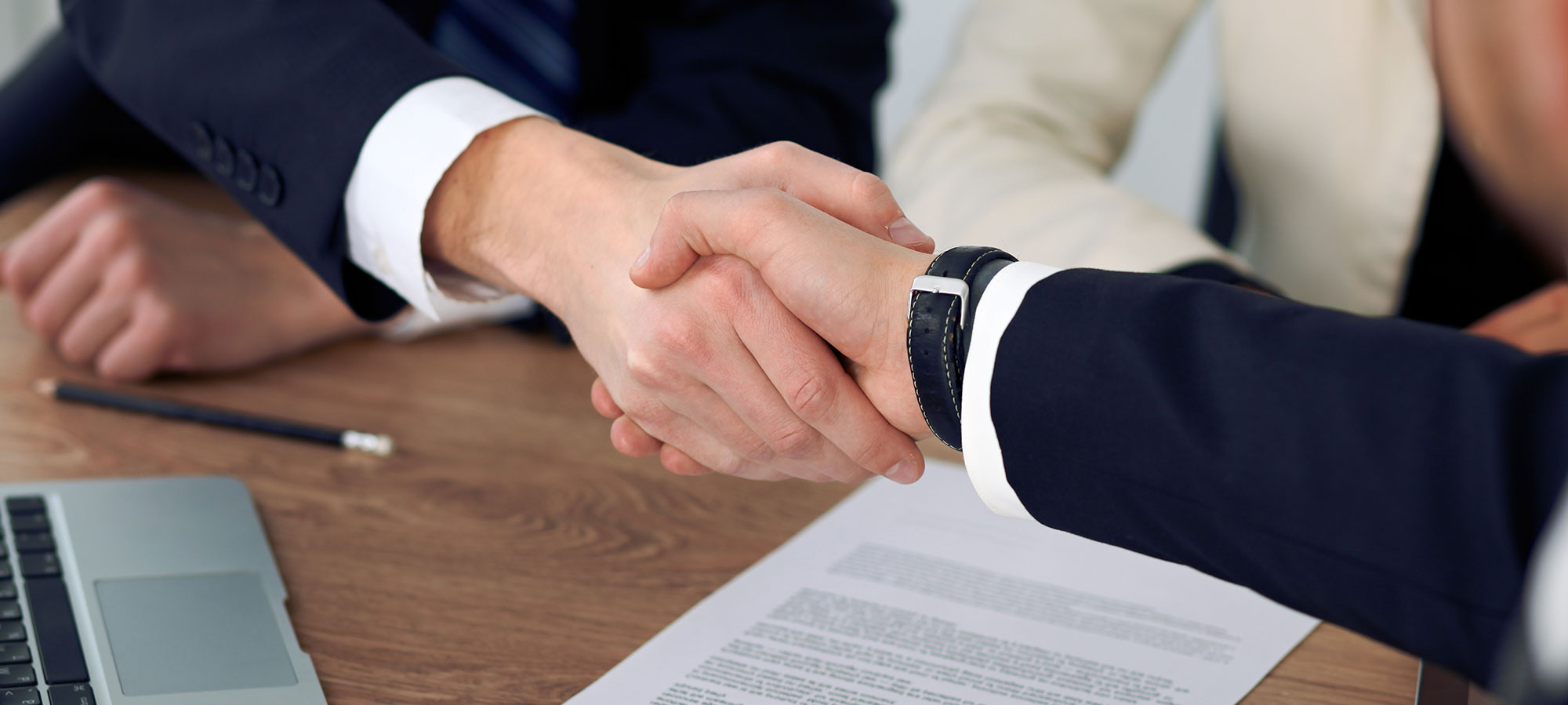 Clients shaking hands